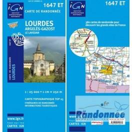 Carte de randonnée TOP25 IGN 1647ET LOURDES Argelès-gazost