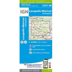 Carte de randonnée TOP25 IGN  2237SB - Lacapelle-Marival / Latronquière