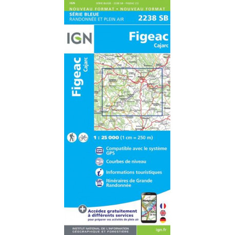 Carte de randonnée TOP 25  2238SB - Figeac / Cajarc