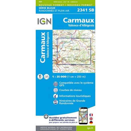 Carte de randonnée TOP 25 2341SB - Carmaux / Valence-d'Albigeois