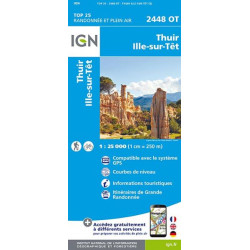 Carte de randonnée TOP 25 2448OT - Thuir / Ille-Sur-Têt