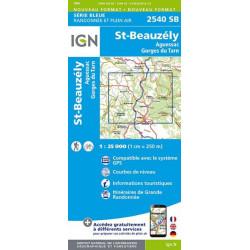 Carte de randonnée TOP 25- 2540SB - Saint-Beauzély / Aguessac/Gorges du Tarn