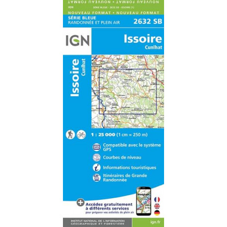 Carte de randonnée TOP 25-2632SB - Issoire / Cunlhat