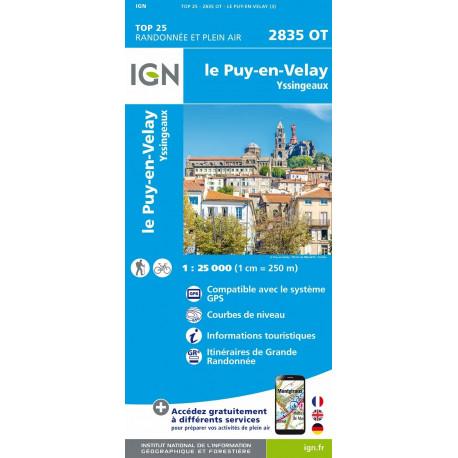 Carte de randonnée TOP 25-2835OT - Le Puy-en-Velay / Yssingeaux