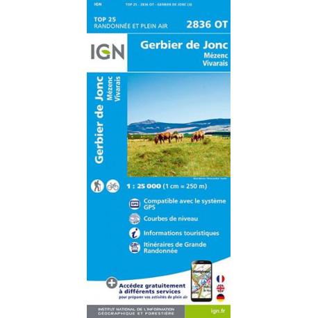 Carte de randonnée TOP 25-2836OT - Gerbier de Jonc / Mézenc / Vivarais