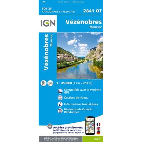 Carte de randonnée TOP 25- 2841OT - Vézénobres / Moussac
