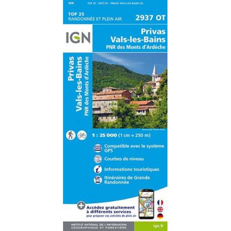 Carte de randonnée TOP 25-2937OT - Privas / Vals-les-Bains
