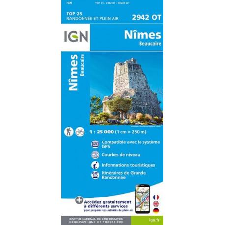 Carte de randonnée TOP 25-2942OT - Nîmes / Beaucaire