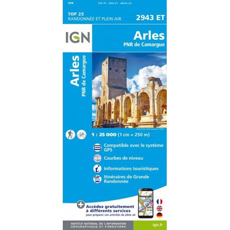 Carte de randonnée TOP 25-2943ET - Arles / PNR de Camargue