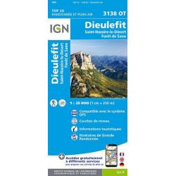 Carte de randonnée TOP 25-3138OT DIEULEFIT ST NAZAIRE LE DESERT, FORET DE SAO