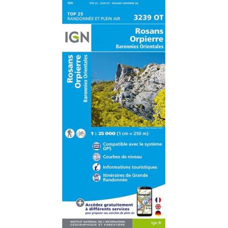 Carte de randonnée TOP 25- 3239OT ROSANS ORPIERRE BARONNNIES ORIENTALES