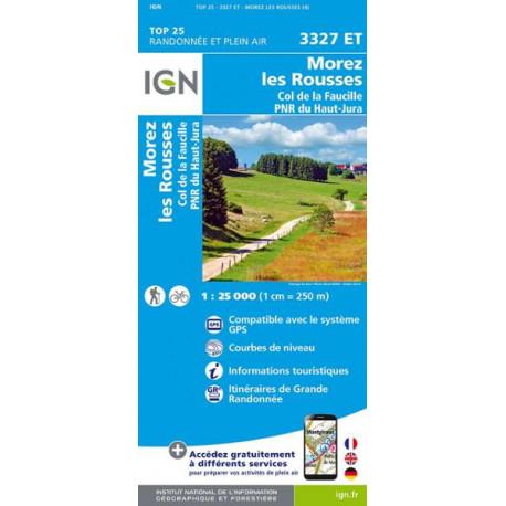 Carte de randonnée TOP 25- 3327ET - Morez / Les-Rousses / Col de la Faucille