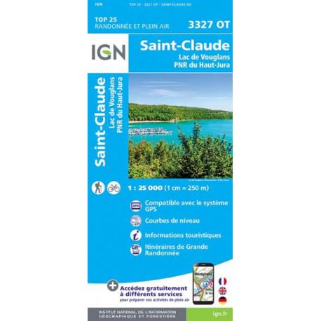 Carte de randonnée TOP 25-Saint-Claude/Lac de Vouglans/PNR du Haut Jura