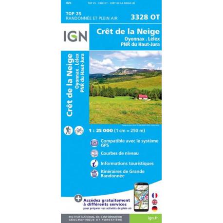 Carte de randonnée TOP 25-3328OT - Crêt de la Neige / Oyonnax / Lelex / PNR du Haut Jura