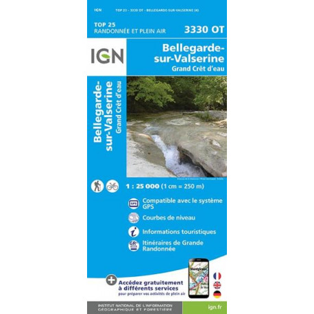 Carte de randonnée TOP 25-3330OT - Bellegarde-Sur-Valserine/Forêt Crêt d'Eau