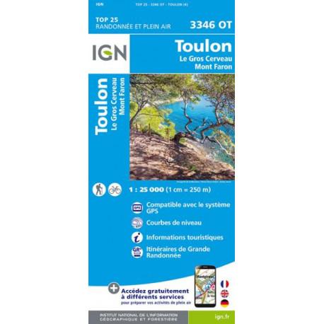 Carte de randonnée TOP 25-3346OT - Toulon / Le Gros-Cerveau / Mont-Faron