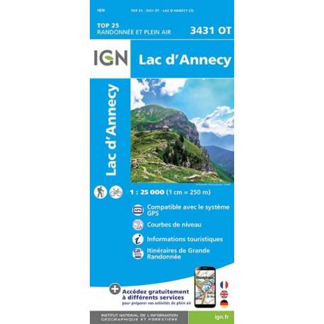 Carte de randonnée TOP 25-3431OT - Lac d'Annecy