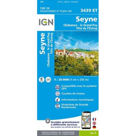 Carte de randonnée TOP 25-3439ET - Seyne / Chabanon / Grand-Puy / Tête de l'Estrop