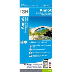 Carte de randonnée TOP 25-3541OT - Annot