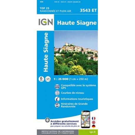 Carte de randonnée TOP 25-3543ET - Haute-Siagne