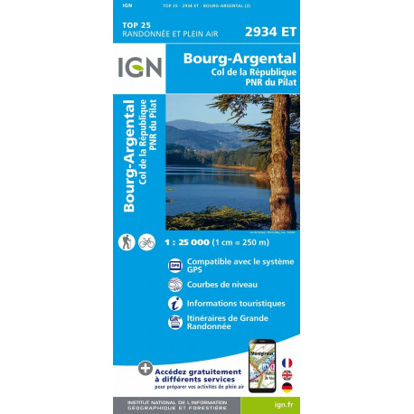Carte de randonnée TOP 25- 2934ET - Bourg-Argental / Col de la République / PNR du Pilat