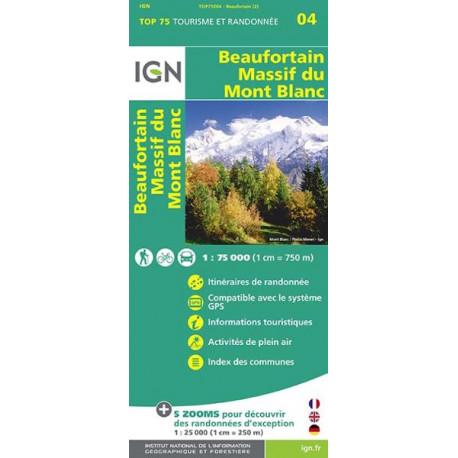 Carte IGN TOP 75 Beaufortain Massif du Mont Blanc