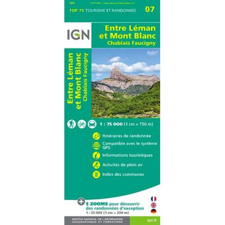 Carte IGN TOP 75 Entre Léman et Mont-Blanc