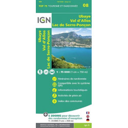Carte IGN TOP 75 Ubaye / Val d'Allos / Lac de Serre-Ponçon