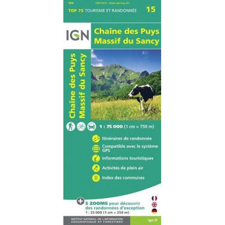 Carte IGN TOP 75 Chaîne des Puys / Massif du Sancy