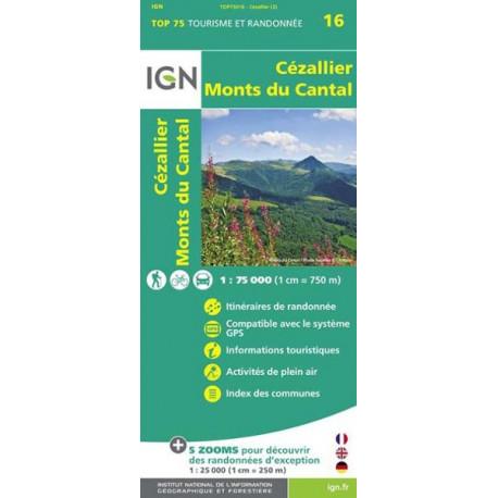 Carte IGN TOP 75 Cezallier / Monts du Cantal