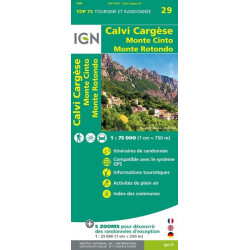 Carte IGN TOP 75 Calvi / Cargèse / Monte Cinto / Monte Rotondo