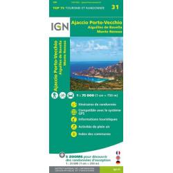 Carte IGN TOP 75 Ajaccio / Porto-Vecchio / Aiguilles de Bavella / Monte Renoso
