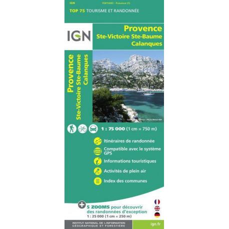 Carte IGN TOP 75 Provence / Sainte-Victoire / Sainte-Baume / Calanques