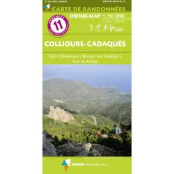 CARTE DE RANDONNEE PYRENEES N° 11 Collioure - Cadaqués