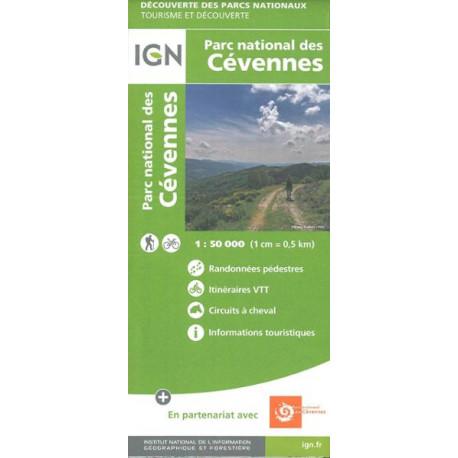 Carte IGN Parc national des cévennes 1/50000