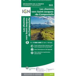 Carte IGN - 922 - Les Chemins vers Saint-Jacques-de-Compostelle 1 : 1 000 000