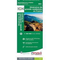 carte IGN - Itinéraires de grande randonnée en FranceI