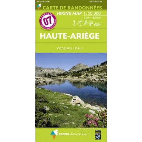 CARTE DE RANDONNEE PYRENEES N°7 HAUTE-ARIEGE Vicdessos Orlu
