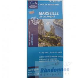 Carte de randonnée TOP25 IGN 3145ET MARSEILLE Les Calanques