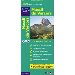 Carte IGN TOP 75 Massif du Vercors