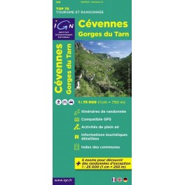 Carte IGN TOP 75 Cèvennes