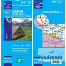 Carte de randonnée TOP25 IGN 1547OT OSSAU Vallée d'Aspe PN des Pyrénées