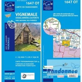Carte de randonnée TOP25 IGN 1647OT VIGNEMALE Ossau.Arrens.Cauterets. PN des Pyrénées