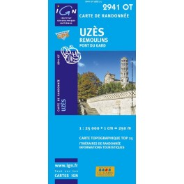 Carte de randonnée TOP25 IGN 2941OT Uzes - Remoulins - Pont du Gard (Gps)