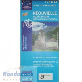 Carte de randonnée TOP25 IGN 1748ET NEOUVVIELLE Vallée d'Aure Parc National des Pyrénées