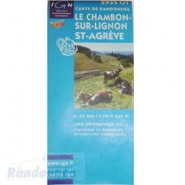 Carte de randonnée TOP25 IGN 2935OT LE-CHAMBON-SUR-LIGNON ST-AGREVE