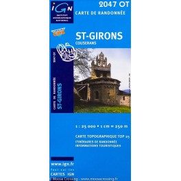 Carte de randonnée TOP 25 IGN 2047OT Saint Girons