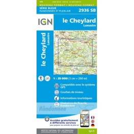 Carte de randonnée SERIE BLEUE 2936SB Le Cheylard /Lamastre