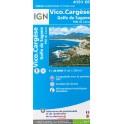 Carte de randonnée TOP 25 IGN Vico, Cargese, Golfe de Sargone 4151OT