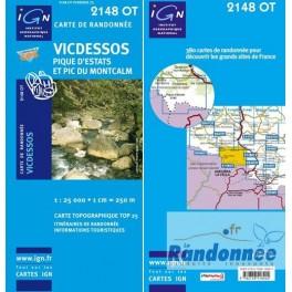 Carte de randonnée TOP25 IGN 2148OT VICDESSOS Pique d'Estats et Pic du Montcalm